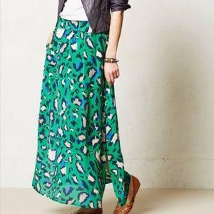 Anthro Vanessa Virginia silk leopard maxi skirt